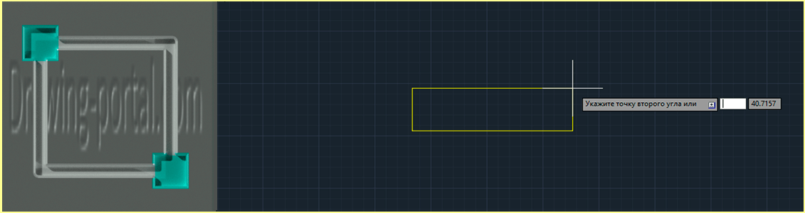 How to draw a rectangle AutoCAD.