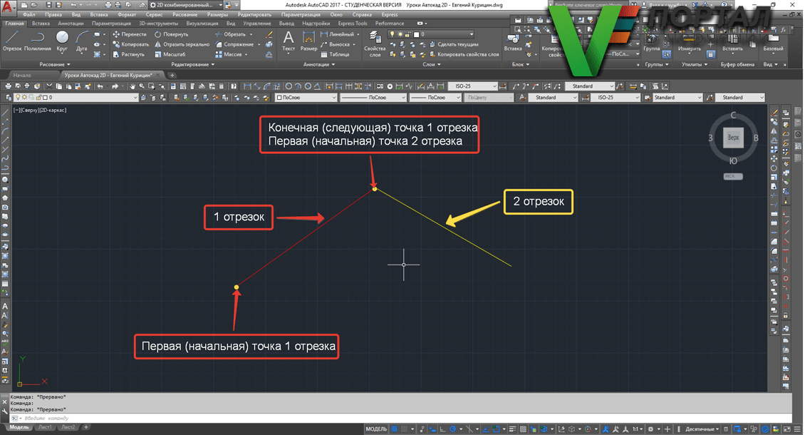 Construction of the segment AutoCAD