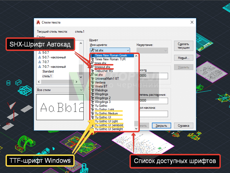 The text style in AutoCAD, AutoCAD fonts, font in AutoCAD